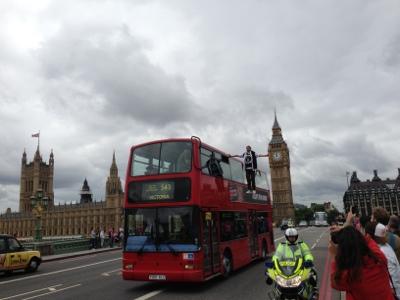 Dynamo Riding a London Bus on Westminster Bridge