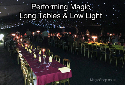 Event Magicians Performing at long tables in low light